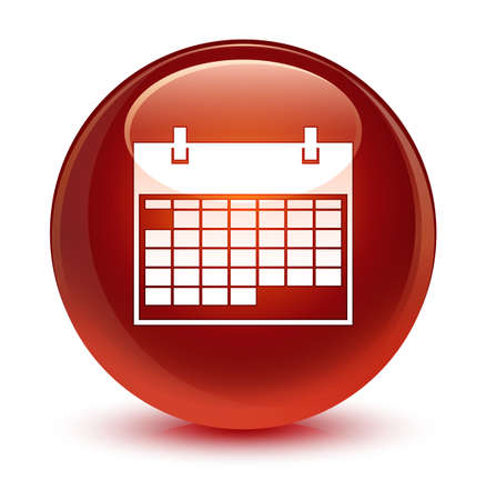 Calendar icon isolated on glassy brown round button abstract illustration Stock Photo