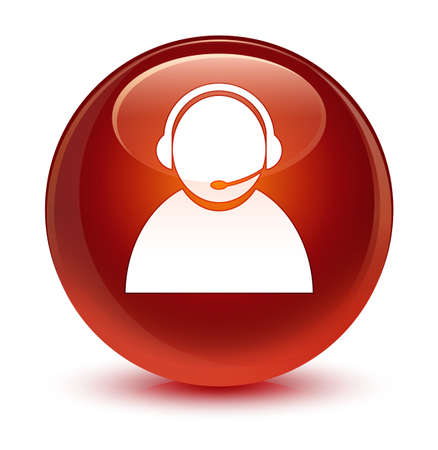 Customer care icon isolated on glassy brown round button abstract illustration