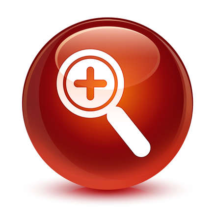 Zoom in icon isolated on glassy brown round button abstract illustration Stock Photo