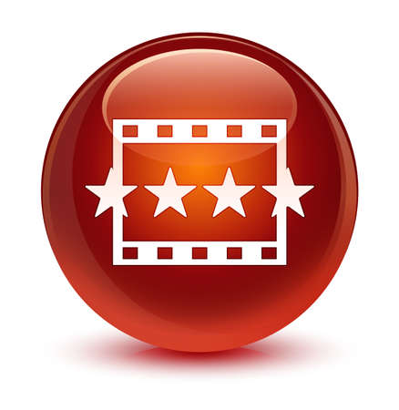 reviews: Movie reviews icon isolated on glassy brown round button abstract illustration