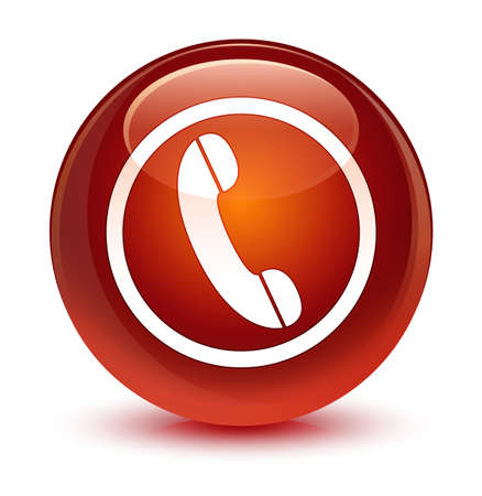 hotline: Phone icon isolated on glassy brown round button abstract illustration