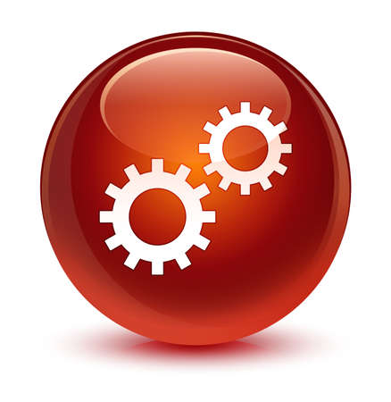 gears: Process icon isolated on glassy brown round button abstract illustration