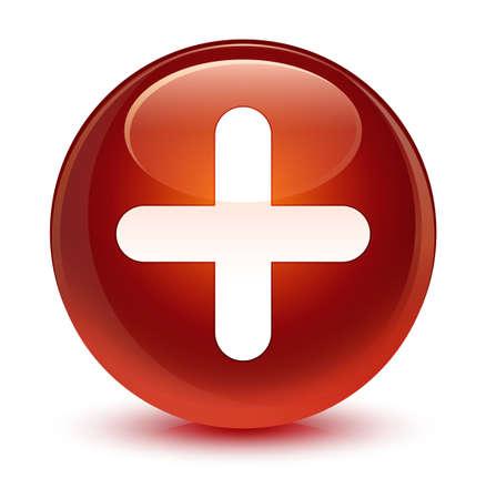 Plus icône isolé sur vitreux bouton rond brun illustration vectorielle Banque d'images - 80483090