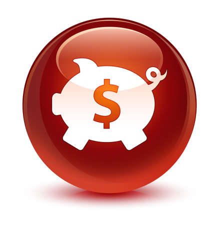 brown: Piggy bank dollar sign icon isolated on glassy brown round button abstract illustration