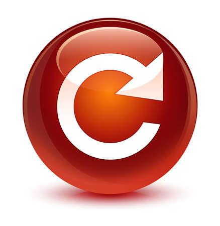 Icono de rotación de respuesta aislado en ilustración abstracta de botón redondo vidrioso marrón