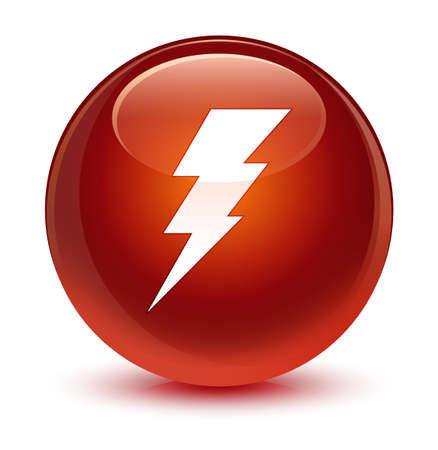 Electricity icon isolated on glassy brown round button abstract illustration