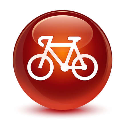 brown: Bicycle icon isolated on glassy brown round button abstract illustration Stock Photo