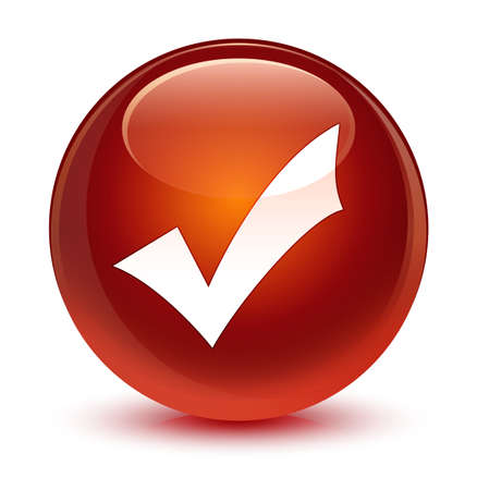 validate: Validation icon isolated on glassy brown round button abstract illustration