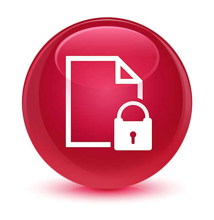 security symbol: Secure document icon isolated on glassy pink round button abstract illustration
