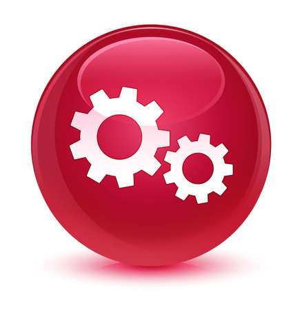 gearwheels: Process icon isolated on glassy pink round button abstract illustration Stock Photo