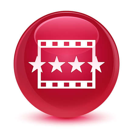 review: Movie reviews icon isolated on glassy pink round button abstract illustration