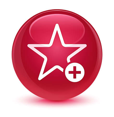 star: Add to favorite icon isolated on glassy pink round button abstract illustration Stock Photo