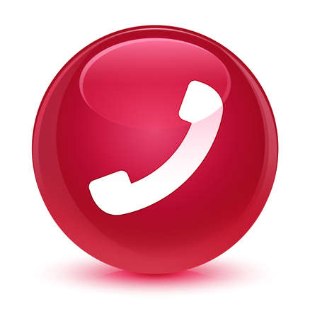 hotline: Phone icon isolated on glassy pink round button abstract illustration