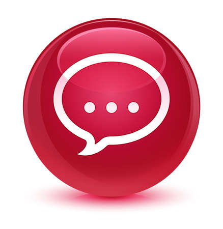 forme: Talk icon isolated on glassy pink round button abstract illustration