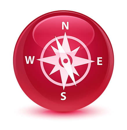 compass rose: Compass icon isolated on glassy pink round button abstract illustration Stock Photo