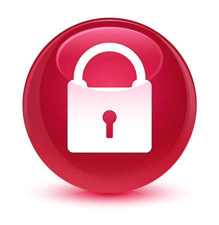 secure: Padlock icon isolated on glassy pink round button abstract illustration