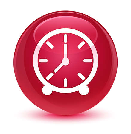 forme: Clock icon isolated on glassy pink round button abstract illustration Banque d'images