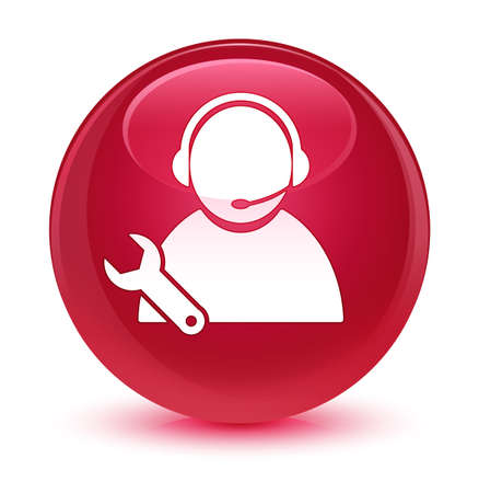 forme: Tech support icon isolated on glassy pink round button abstract illustration Banque d'images