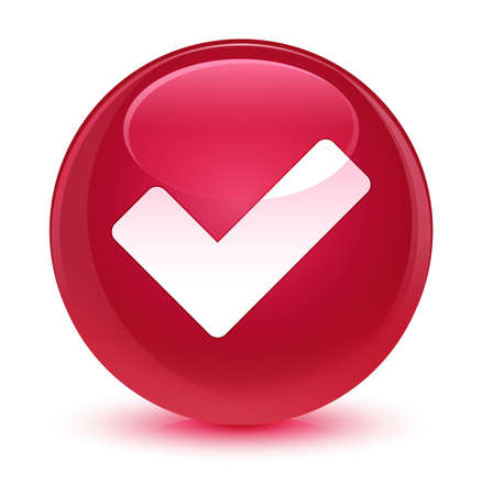 validate: Validate icon isolated on glassy pink round button abstract illustration