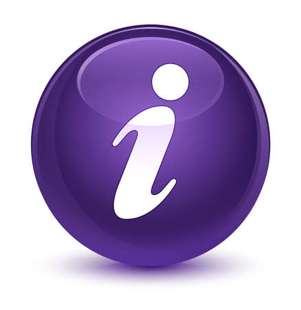 Info icon isolated on glassy purple round button abstract illustration