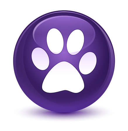 Animal footprint icon isolated on glassy purple round button abstract illustration