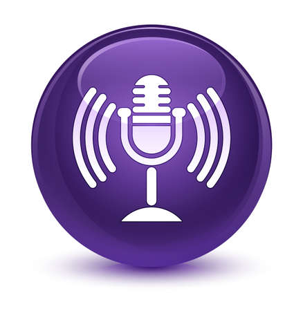 waves: Mic icon isolated on glassy purple round button abstract illustration Stock Photo