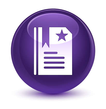 favourite: Bookmark icon isolated on glassy purple round button abstract illustration Stock Photo