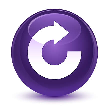 Reply arrow icon isolated on glassy purple round button abstract illustration