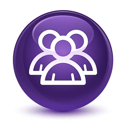 Group icon isolated on glassy purple round button abstract illustration Standard-Bild