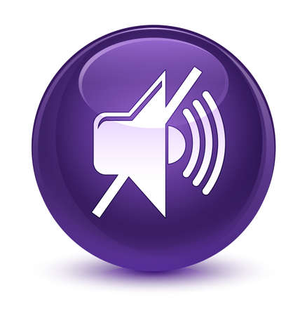 waves: Mute volume icon isolated on glassy purple round button abstract illustration