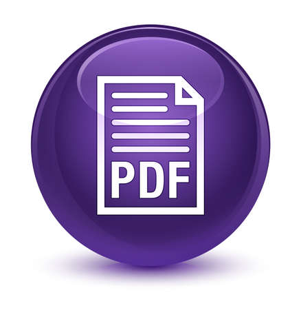 format: PDF document icon isolated on glassy purple round button abstract illustration