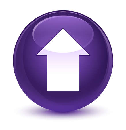 up load: Upload arrow icon isolated on glassy purple round button abstract illustration