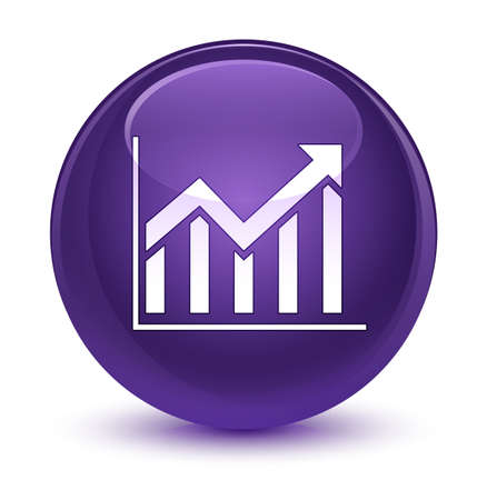 report icon: Statistics icon isolated on glassy purple round button abstract illustration