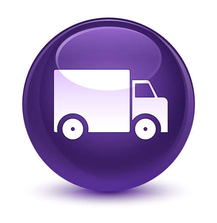 truck: Delivery truck icon isolated on glassy purple round button abstract illustration Stock Photo