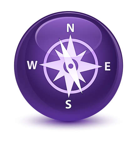 rose: Compass icon isolated on glassy purple round button abstract illustration