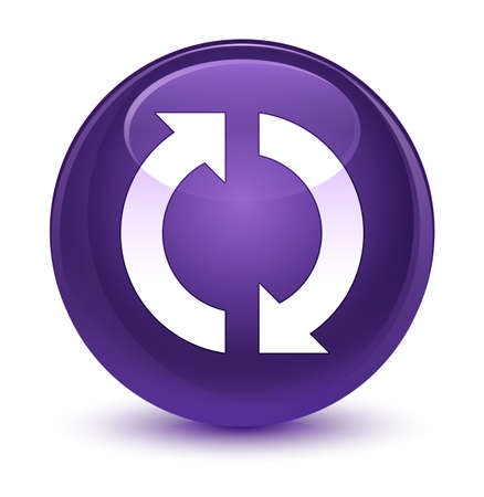 Update icon isolated on glassy purple round button abstract illustration Stock Photo