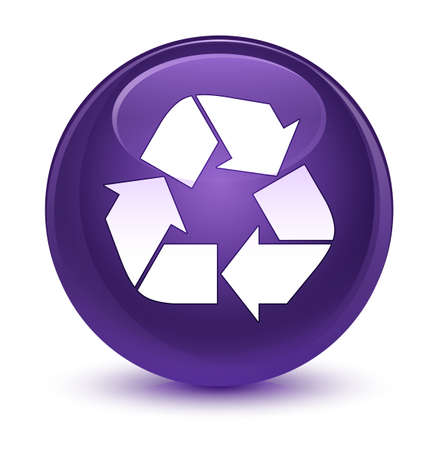 Recycle icon isolated on glassy purple round button abstract illustration Stock Photo