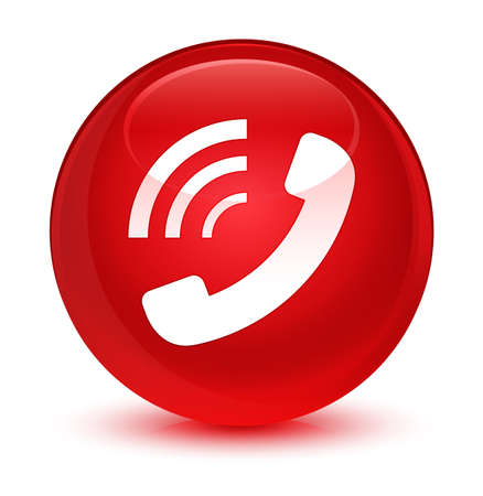 Phone ringing icon isolated on glassy red round button abstract illustration