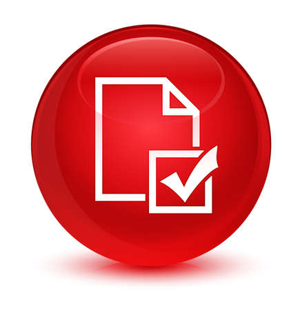 Survey icon isolated on glassy red round button abstract illustration