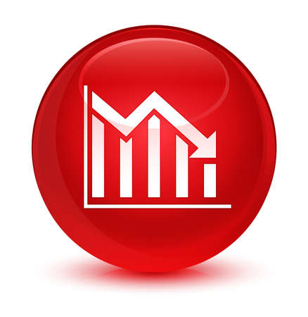 report icon: Statistics down icon isolated on glassy red round button abstract illustration Stock Photo