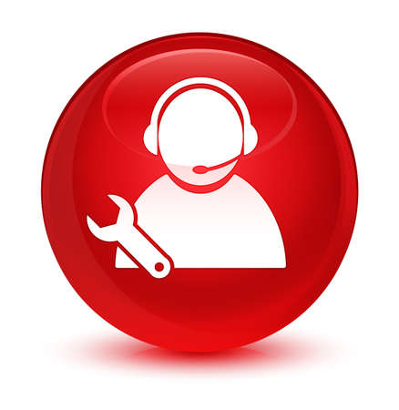 Tech support icon isolated on glassy red round button abstract illustration Stock Photo