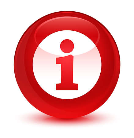 inform information: Info icon isolated on glassy red round button abstract illustration