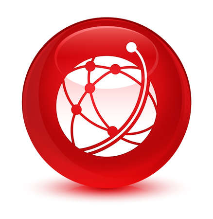 Global network icon isolated on glassy red round button abstract illustration Stock Illustration - 80680986