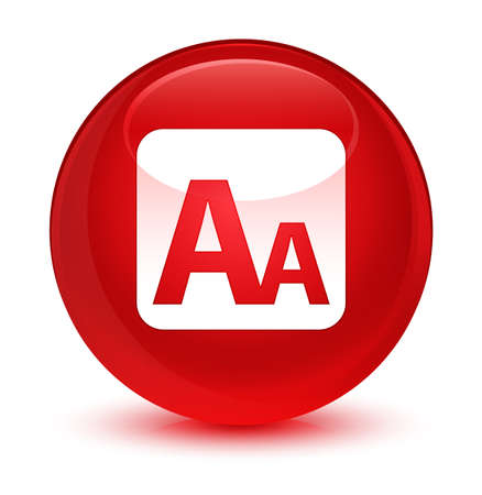 box size: Font size box icon isolated on glassy red round button abstract illustration