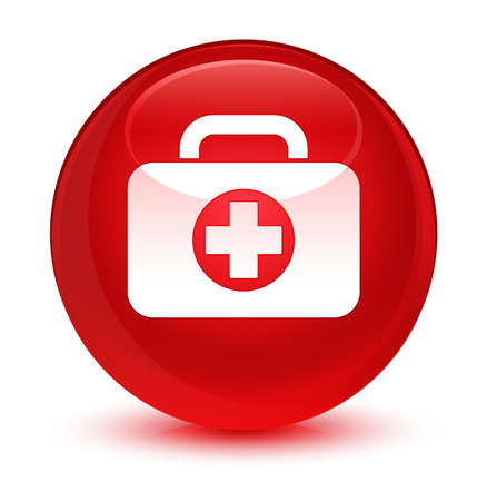 box: First aid kit bag icon isolated on glassy red round button abstract illustration Stock Photo