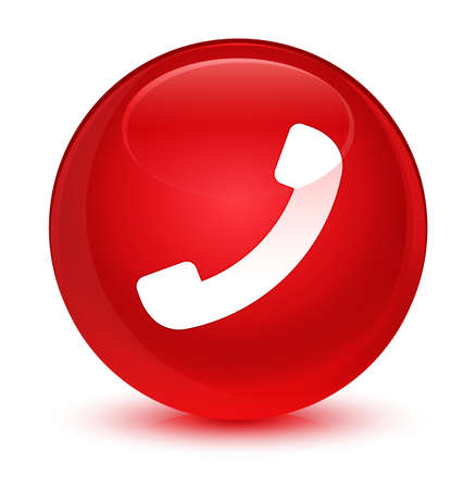 hotline: Phone icon isolated on glassy red round button abstract illustration Stock Photo