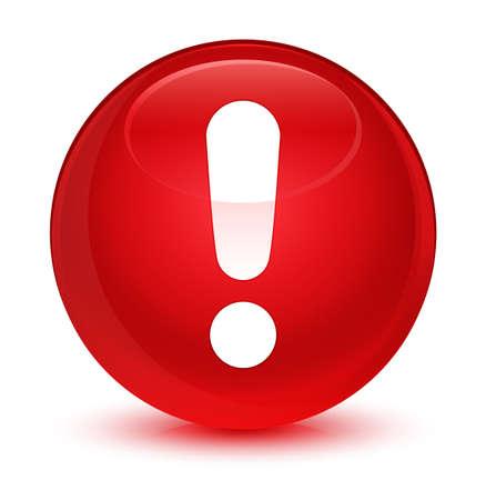 Icône d'exclamation isolée sur rouge roux bouton rond illustration abstraite