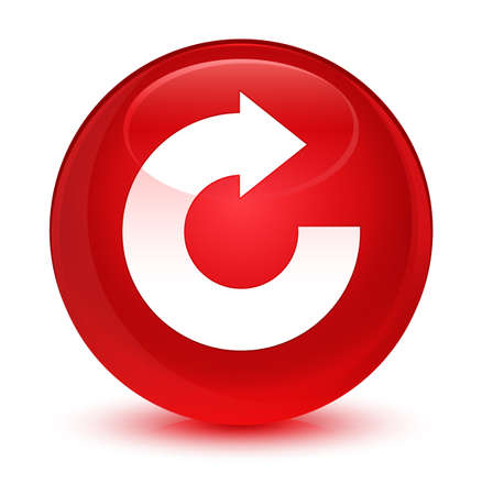 Reply arrow icon isolated on glassy red round button abstract illustration