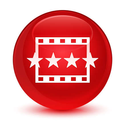 review: Movie reviews icon isolated on glassy red round button abstract illustration