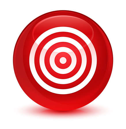 Target icon isolated on glassy red round button abstract illustration Stock Photo